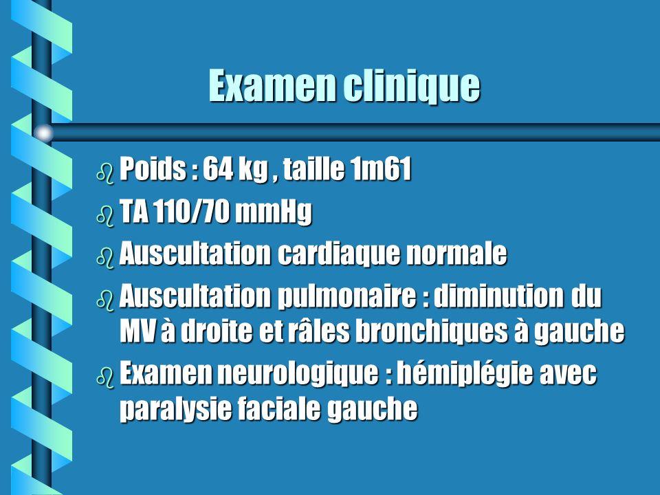 Examen clinique Poids : 64 kg , taille 1m61 TA 110/70 mmHg