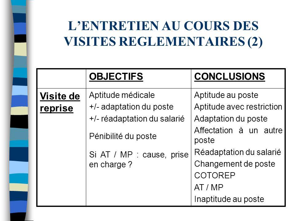 L'ENTRETIEN AU COURS DES VISITES REGLEMENTAIRES (2)