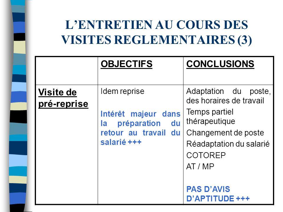 L'ENTRETIEN AU COURS DES VISITES REGLEMENTAIRES (3)