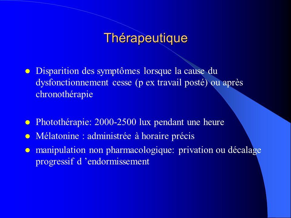 Thérapeutique Disparition des symptômes lorsque la cause du dysfonctionnement cesse (p ex travail posté) ou après chronothérapie.