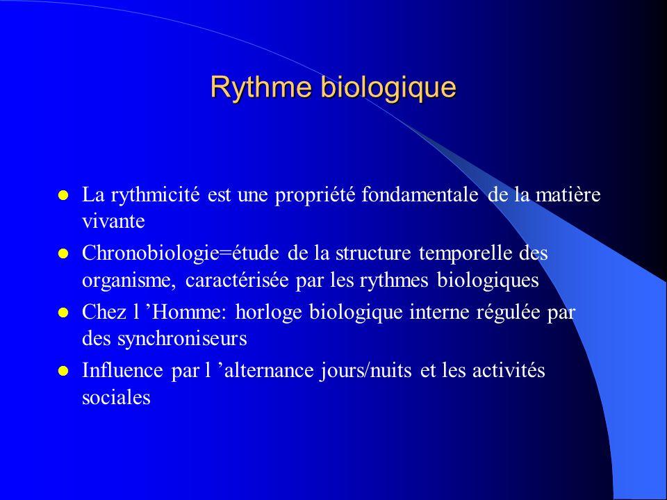 Rythme biologique La rythmicité est une propriété fondamentale de la matière vivante.