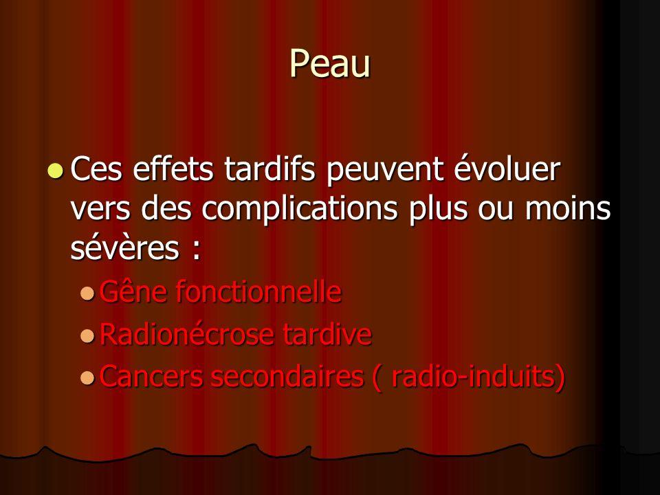 Peau Ces effets tardifs peuvent évoluer vers des complications plus ou moins sévères : Gêne fonctionnelle.