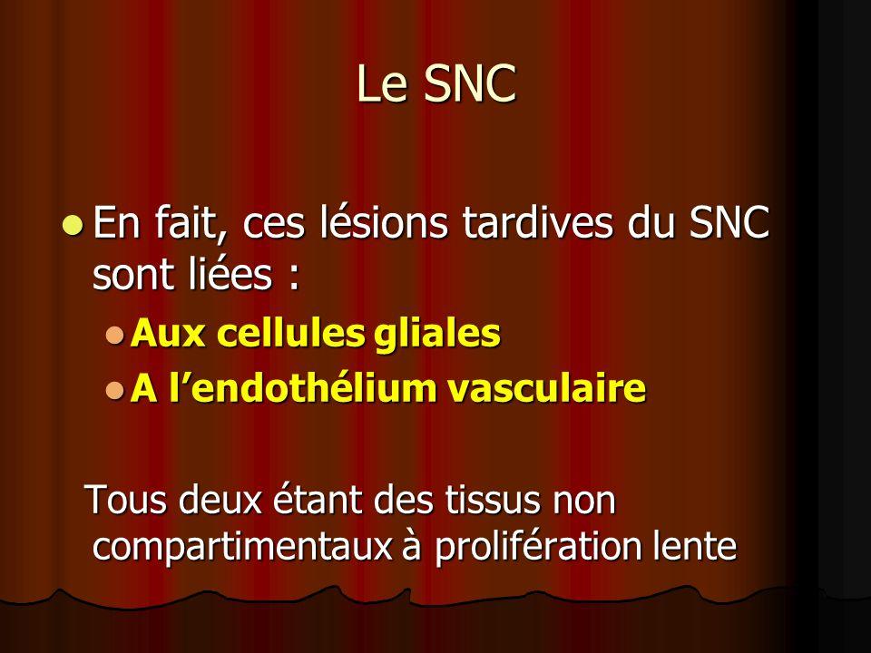 Le SNC En fait, ces lésions tardives du SNC sont liées :
