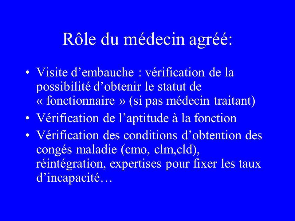 Rôle du médecin agréé: Visite d'embauche : vérification de la possibilité d'obtenir le statut de « fonctionnaire » (si pas médecin traitant)