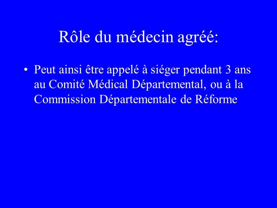 Rôle du médecin agréé: Peut ainsi être appelé à siéger pendant 3 ans au Comité Médical Départemental, ou à la Commission Départementale de Réforme.