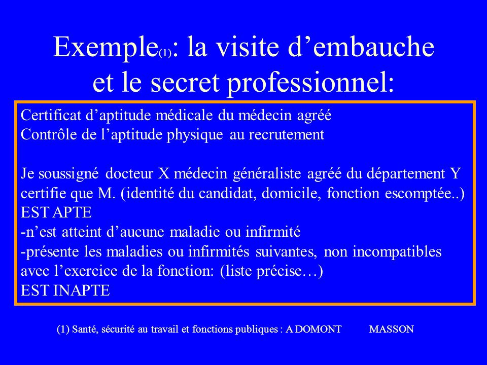 Exemple(1): la visite d'embauche et le secret professionnel:
