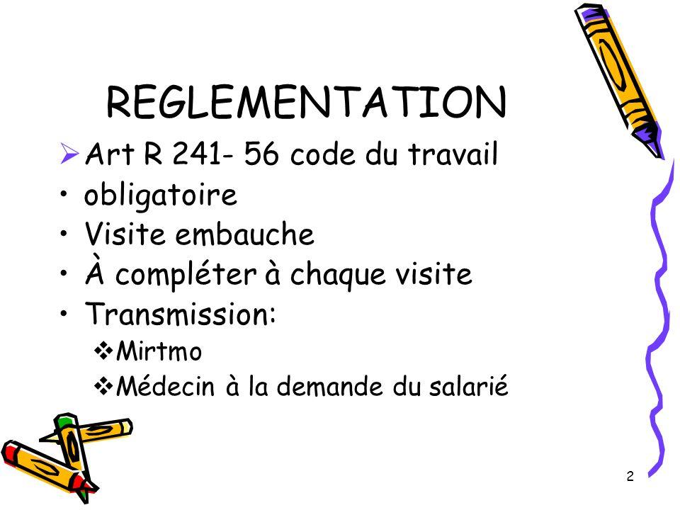 REGLEMENTATION Art R 241- 56 code du travail obligatoire