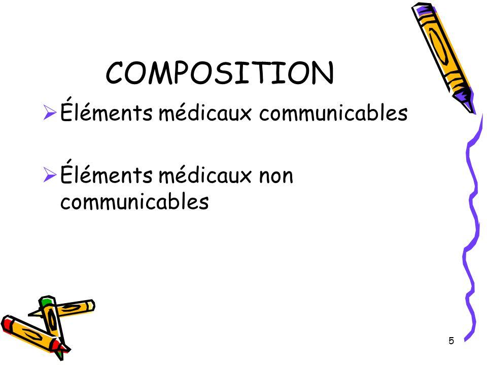 COMPOSITION Éléments médicaux communicables