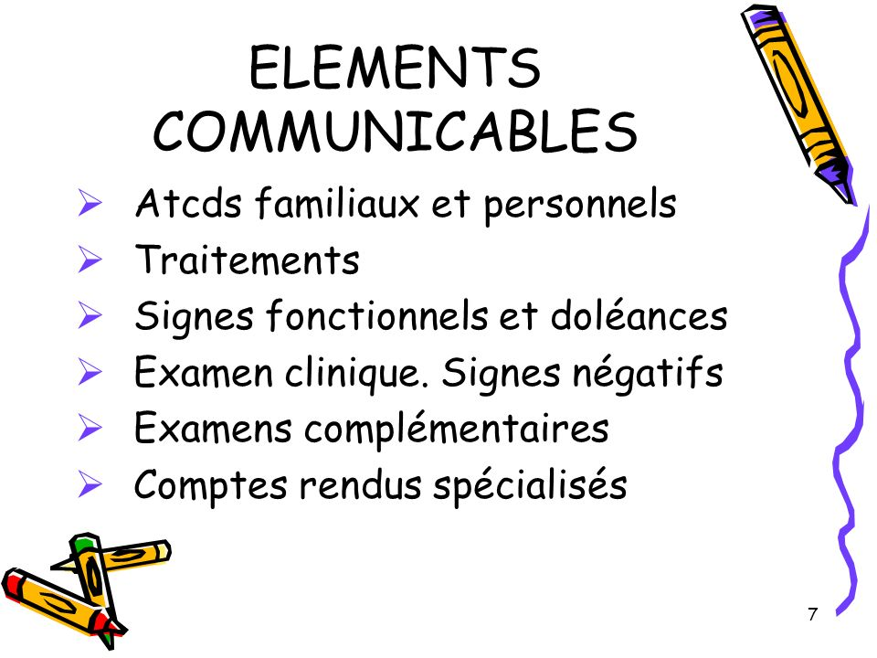 ELEMENTS COMMUNICABLES