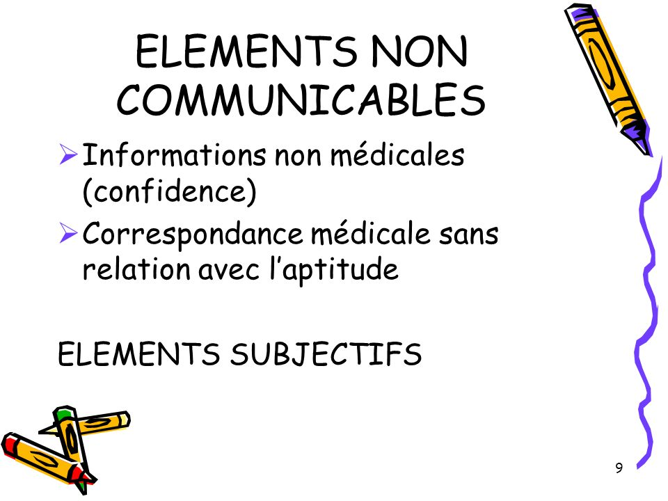 ELEMENTS NON COMMUNICABLES