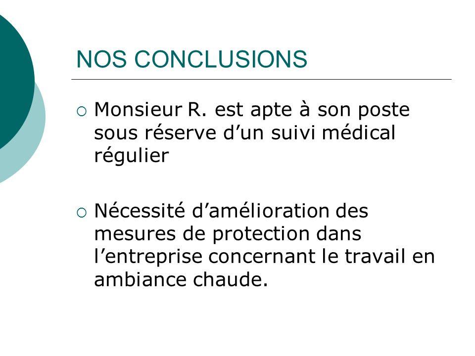 NOS CONCLUSIONS Monsieur R. est apte à son poste sous réserve d'un suivi médical régulier.