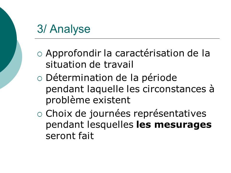 3/ Analyse Approfondir la caractérisation de la situation de travail