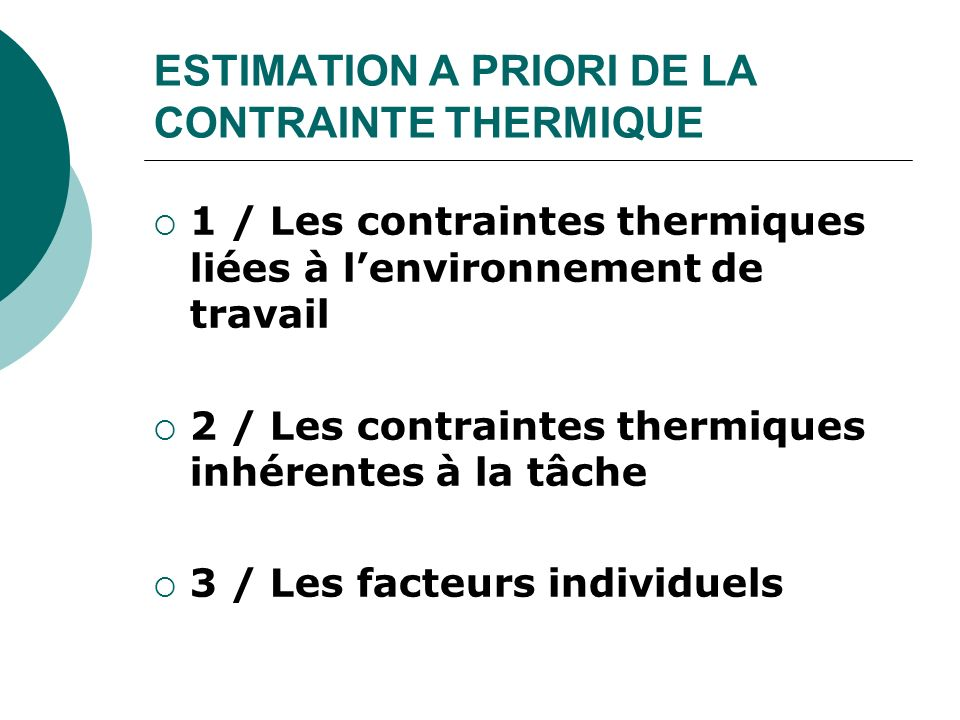 ESTIMATION A PRIORI DE LA CONTRAINTE THERMIQUE