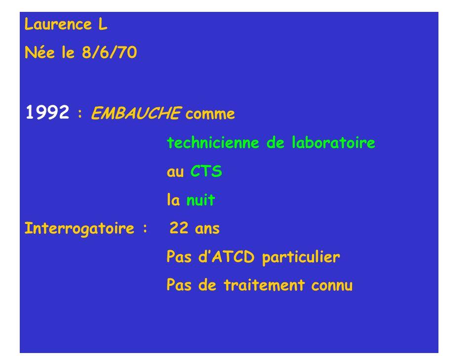 1992 : EMBAUCHE comme Laurence L Née le 8/6/70