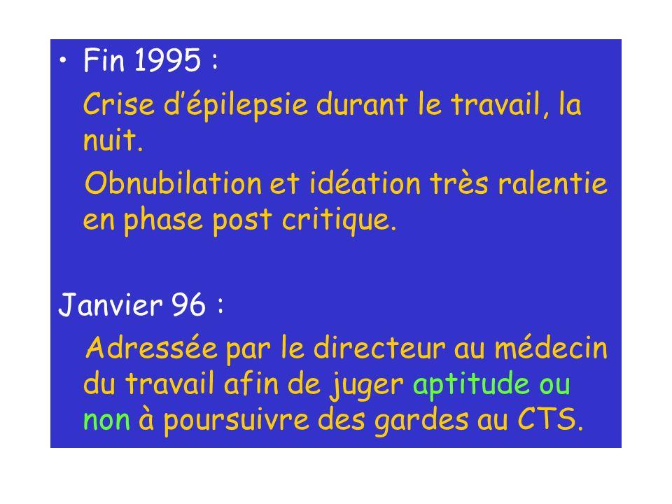 Fin 1995 : Crise d'épilepsie durant le travail, la nuit. Obnubilation et idéation très ralentie en phase post critique.