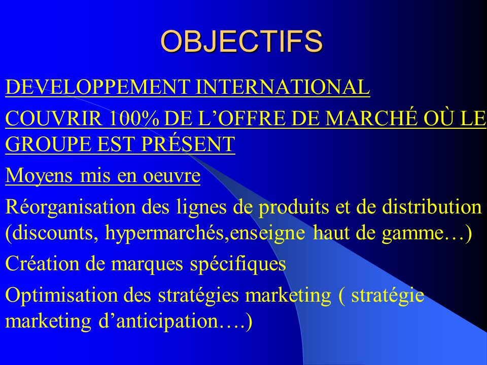OBJECTIFS DEVELOPPEMENT INTERNATIONAL