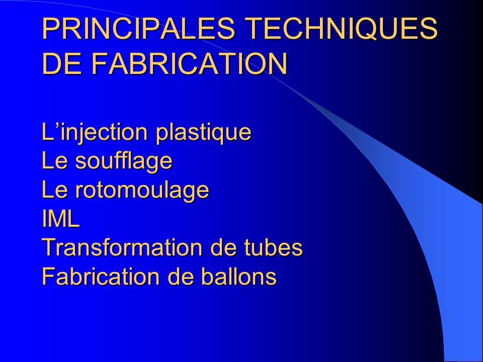 PRINCIPALES TECHNIQUES DE FABRICATION L'injection plastique Le soufflage Le rotomoulage IML Transformation de tubes Fabrication de ballons