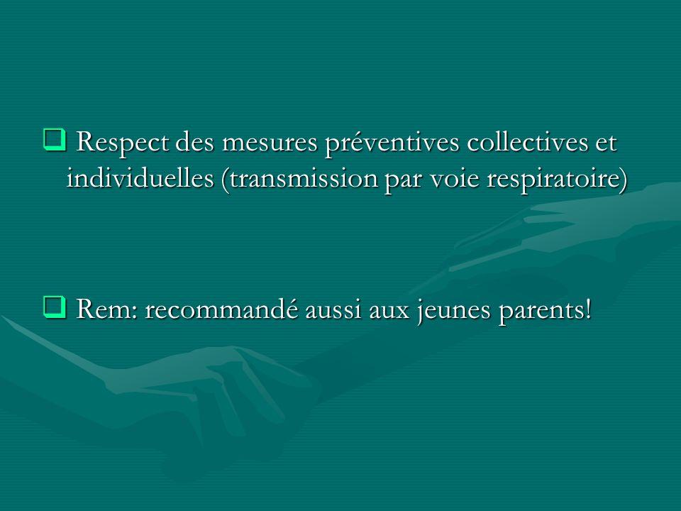Respect des mesures préventives collectives et individuelles (transmission par voie respiratoire)
