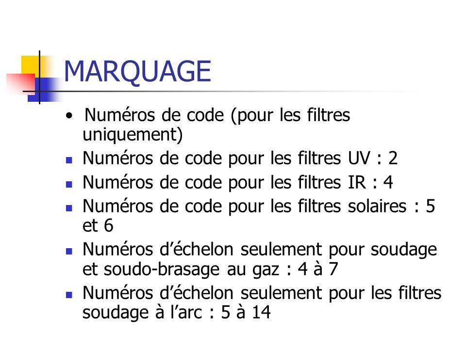 MARQUAGE • Numéros de code (pour les filtres uniquement)