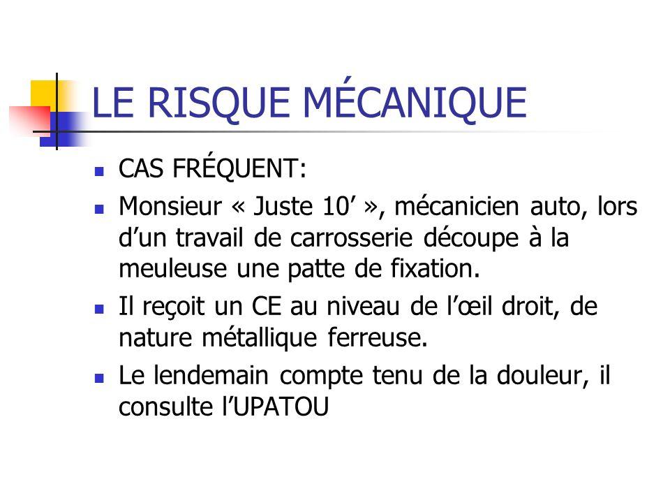 LE RISQUE MÉCANIQUE CAS FRÉQUENT: