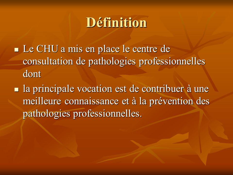 Définition Le CHU a mis en place le centre de consultation de pathologies professionnelles dont.
