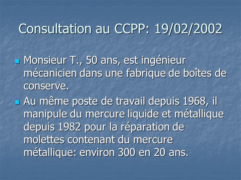 Consultation au CCPP: 19/02/2002