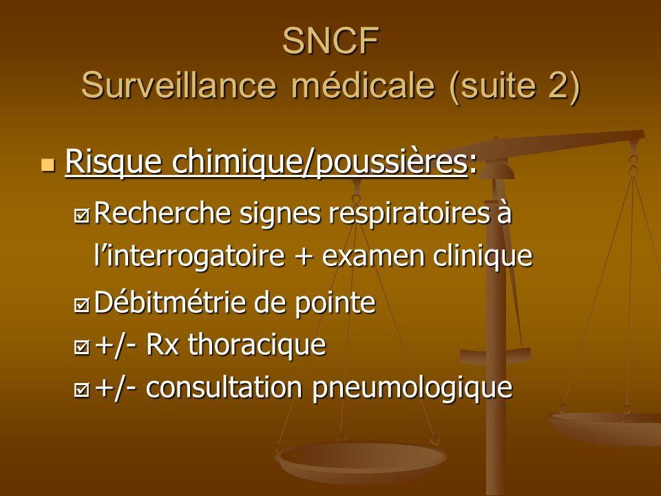 SNCF Surveillance médicale (suite 2)