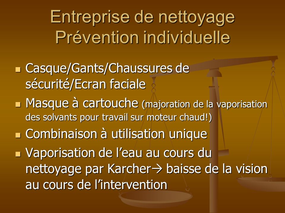 Entreprise de nettoyage Prévention individuelle
