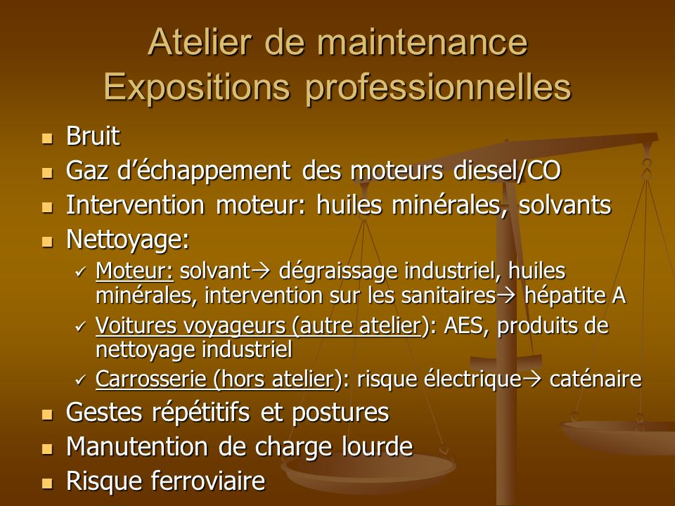 Atelier de maintenance Expositions professionnelles