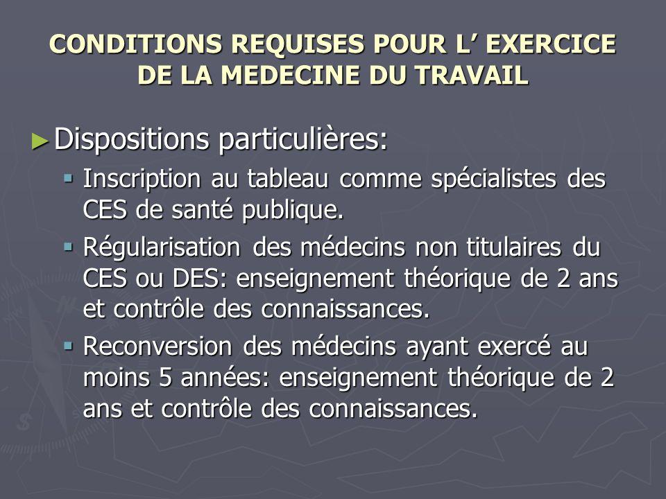 CONDITIONS REQUISES POUR L' EXERCICE DE LA MEDECINE DU TRAVAIL