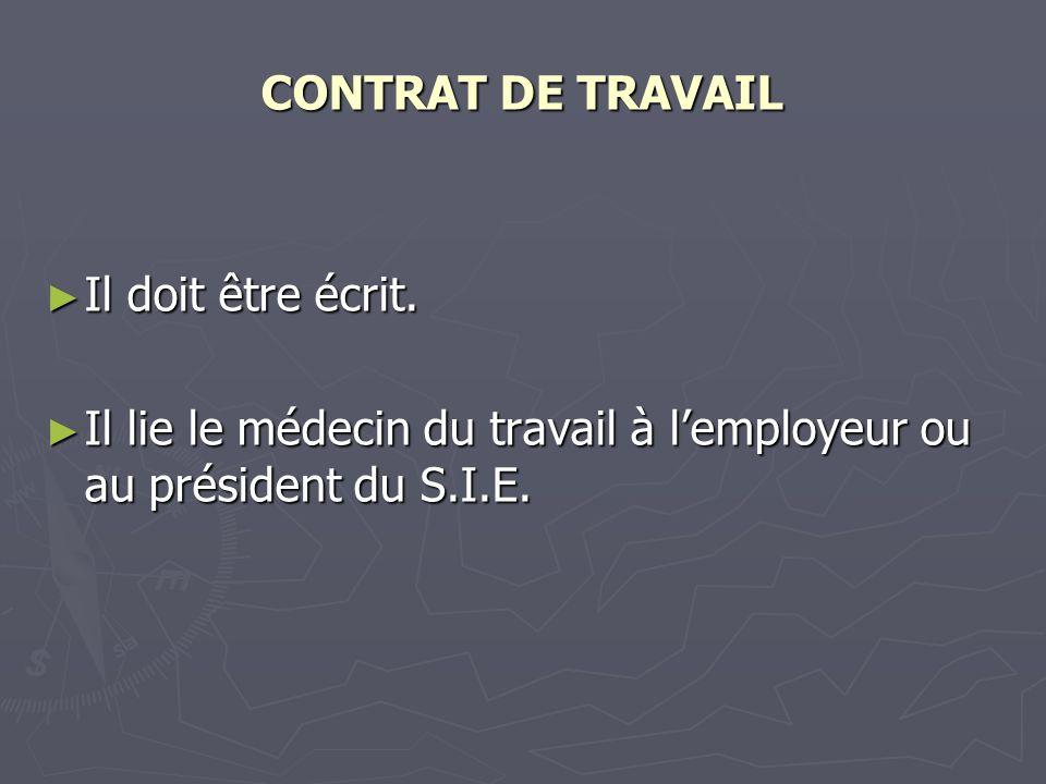 CONTRAT DE TRAVAIL Il doit être écrit.
