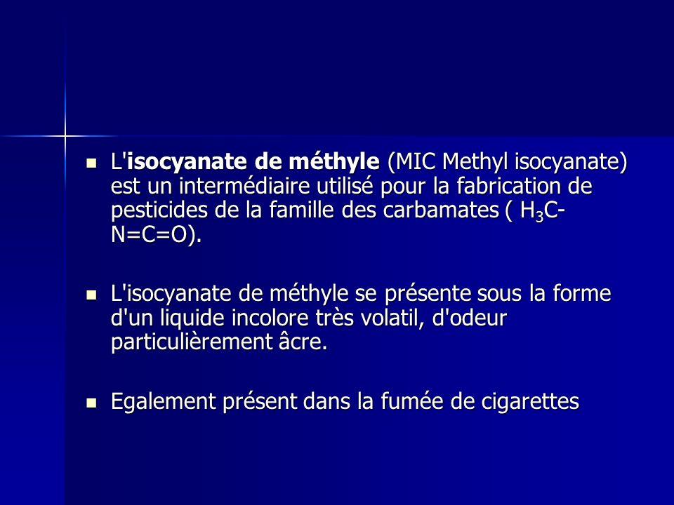 L isocyanate de méthyle (MIC Methyl isocyanate) est un intermédiaire utilisé pour la fabrication de pesticides de la famille des carbamates ( H3C-N=C=O).