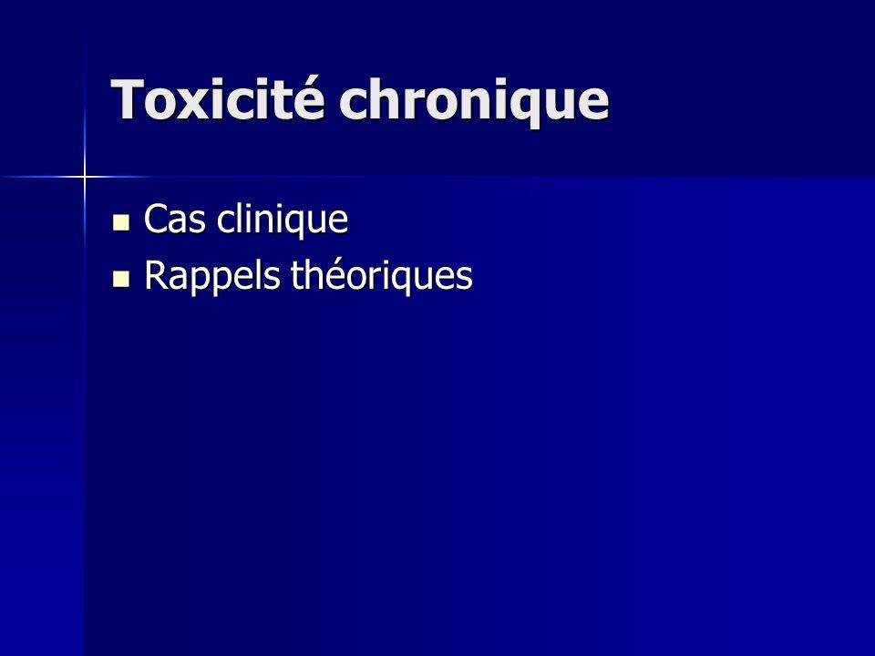 Toxicité chronique Cas clinique Rappels théoriques