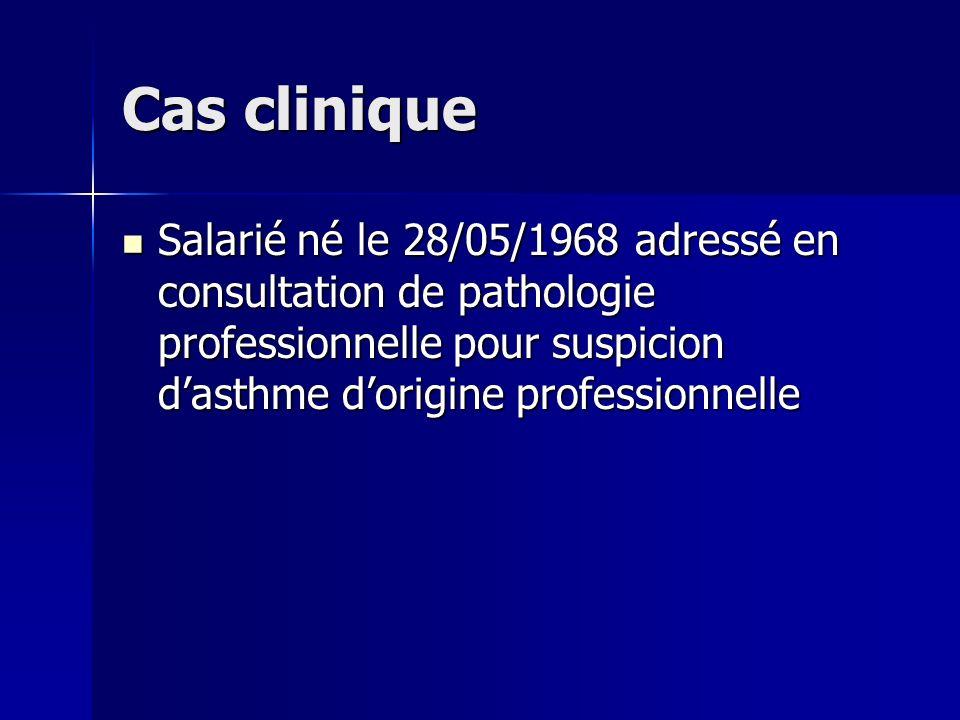 Cas clinique Salarié né le 28/05/1968 adressé en consultation de pathologie professionnelle pour suspicion d'asthme d'origine professionnelle.