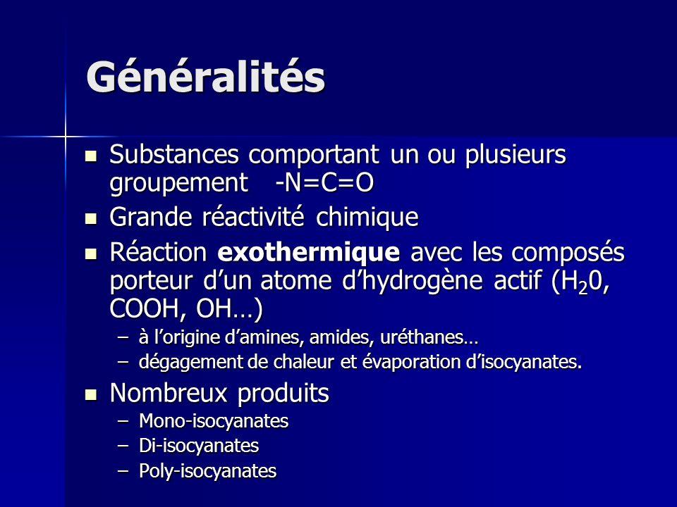 Généralités Substances comportant un ou plusieurs groupement -N=C=O