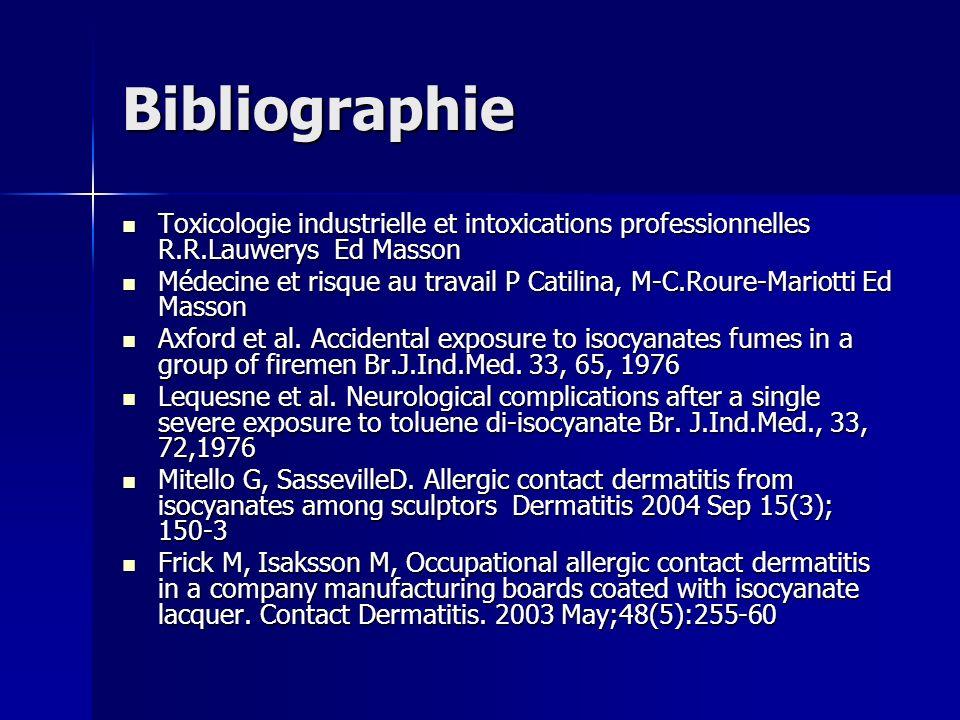 Bibliographie Toxicologie industrielle et intoxications professionnelles R.R.Lauwerys Ed Masson.