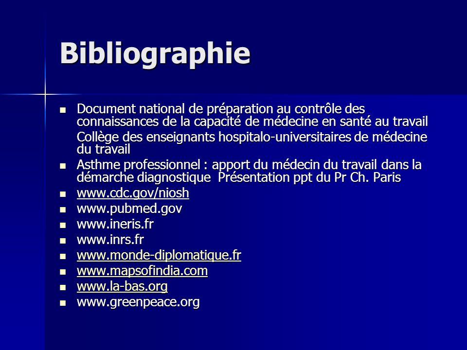 Bibliographie Document national de préparation au contrôle des connaissances de la capacité de médecine en santé au travail.