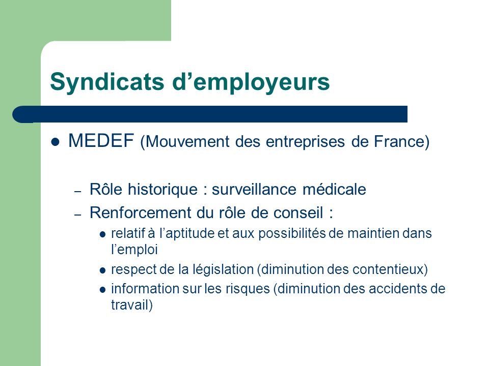 Syndicats d'employeurs