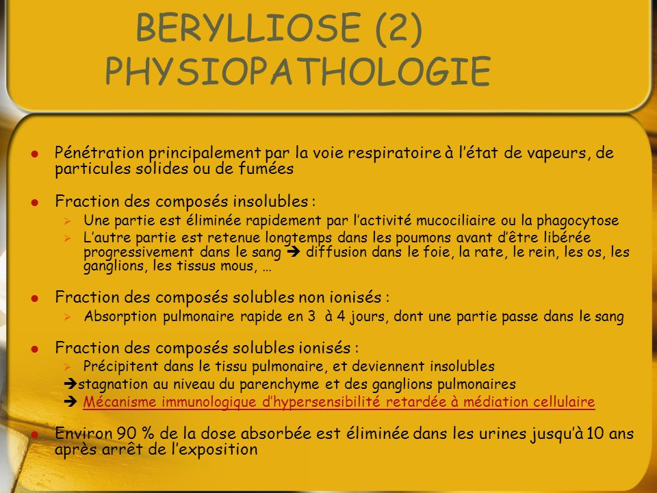 BERYLLIOSE (2) PHYSIOPATHOLOGIE