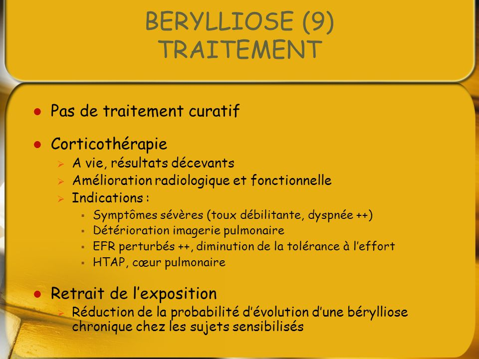 BERYLLIOSE (9) TRAITEMENT
