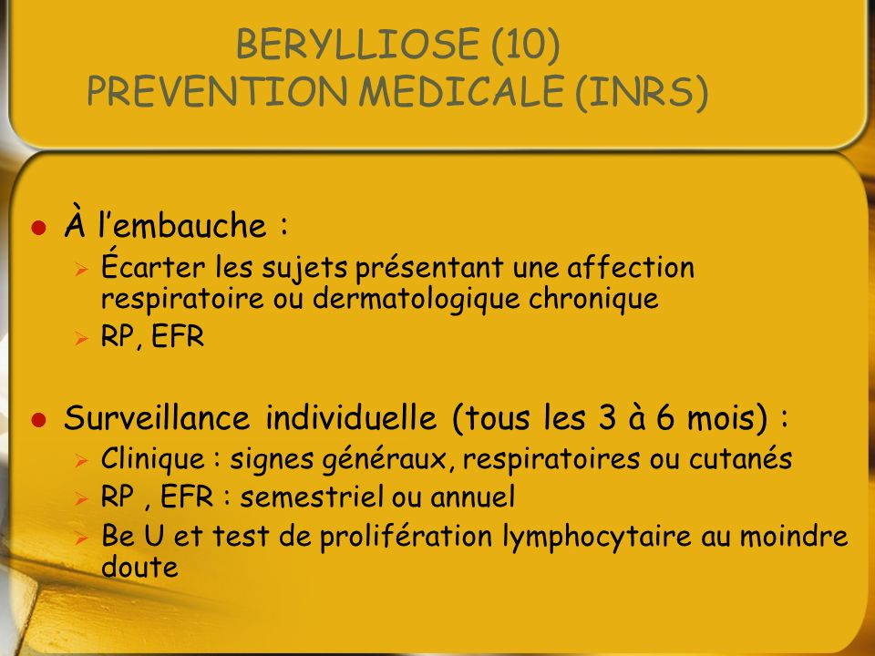 BERYLLIOSE (10) PREVENTION MEDICALE (INRS)