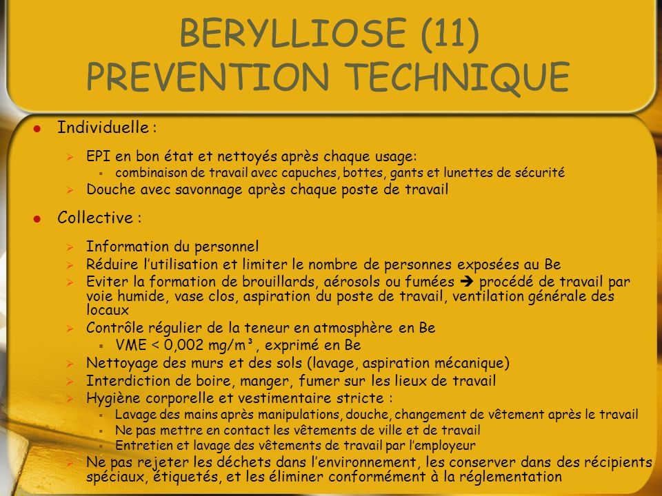 BERYLLIOSE (11) PREVENTION TECHNIQUE