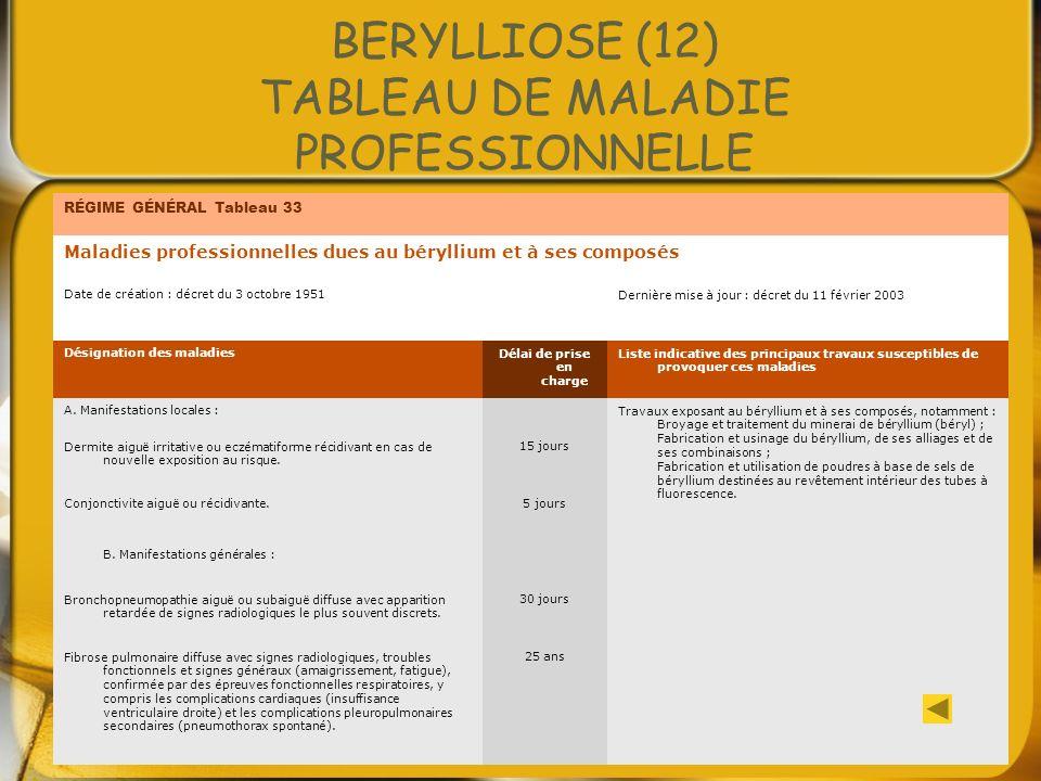 BERYLLIOSE (12) TABLEAU DE MALADIE PROFESSIONNELLE