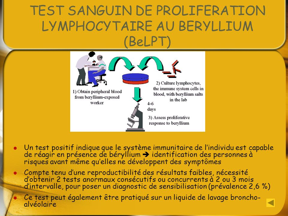 TEST SANGUIN DE PROLIFERATION LYMPHOCYTAIRE AU BERYLLIUM (BeLPT)