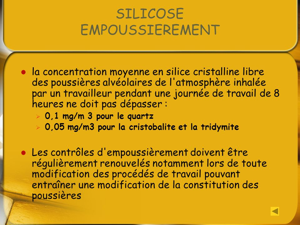 SILICOSE EMPOUSSIEREMENT