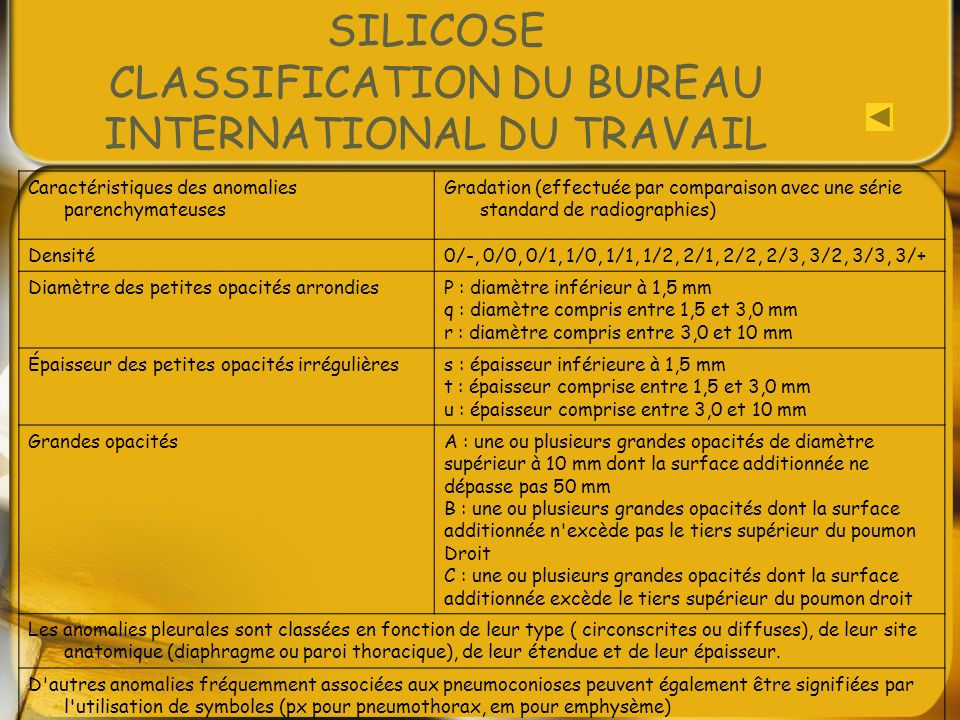 SILICOSE CLASSIFICATION DU BUREAU INTERNATIONAL DU TRAVAIL