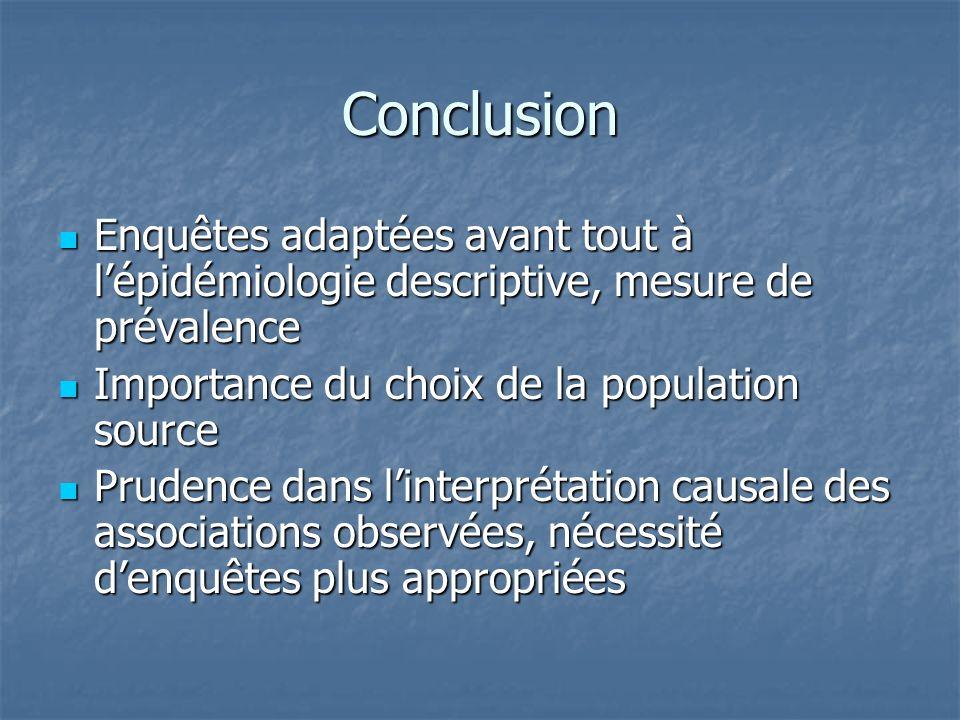 Conclusion Enquêtes adaptées avant tout à l'épidémiologie descriptive, mesure de prévalence. Importance du choix de la population source.