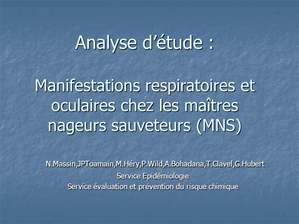 Analyse d'étude : Manifestations respiratoires et oculaires chez les maîtres nageurs sauveteurs (MNS)