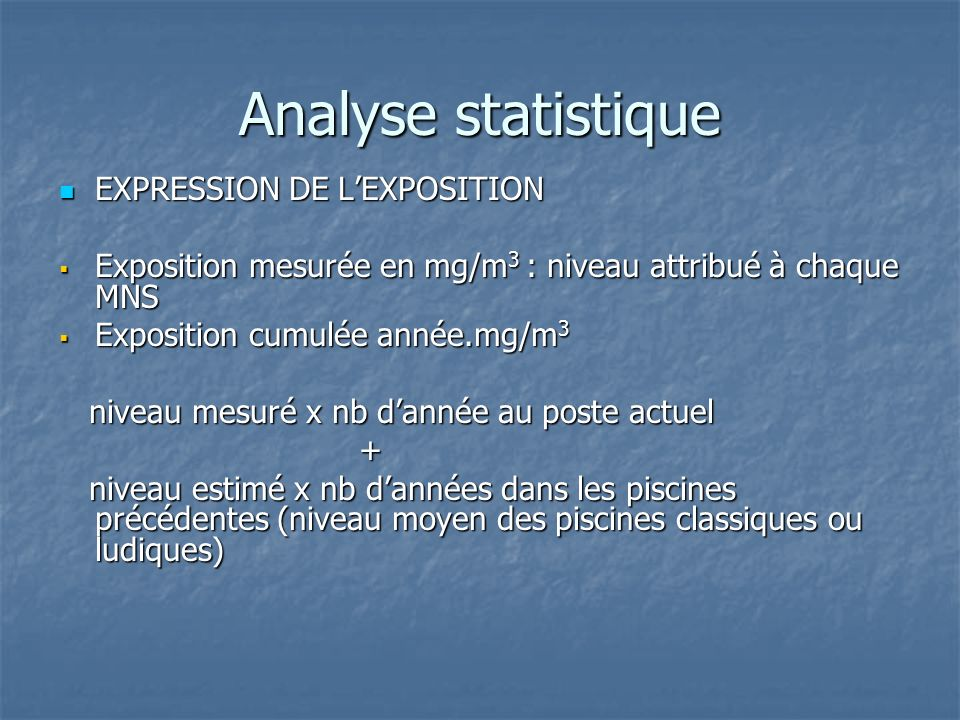 Analyse statistique EXPRESSION DE L'EXPOSITION