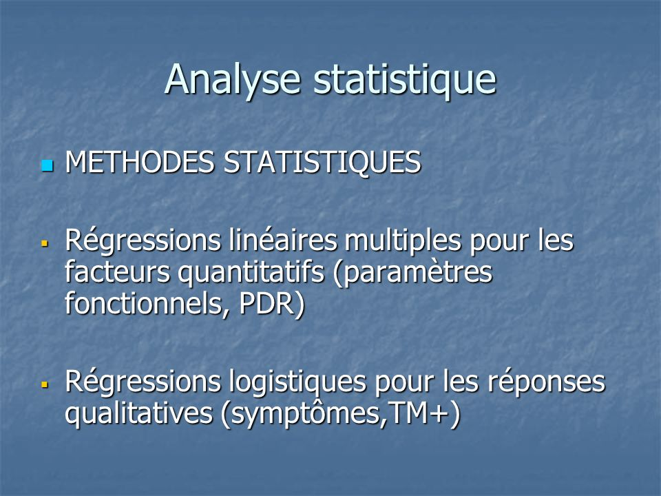 Analyse statistique METHODES STATISTIQUES